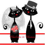 "Cute Cats Hipster Bride And Groom Purrrfect! Cutout<br><div class=""desc"">Such a cute wedding day or wedding shower cut out, stand up cake or table decoration with a pair of retro style hip black cats all dressed up as bride and groom in top hat and veil. Just personalize it with your own wedding names or other text; it&#39;s bound to...</div>"