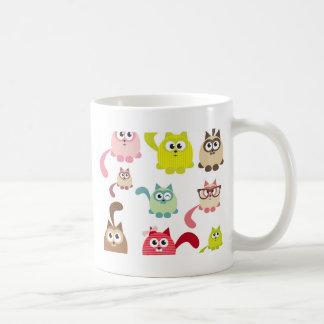 Cute cats,kid pattern,colorful,happy,fun,girly,tre coffee mug