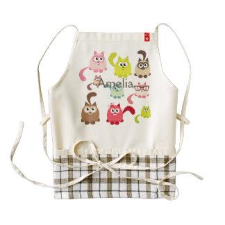 Cute cats,kid pattern,colorful,happy,fun,girly zazzle HEART apron