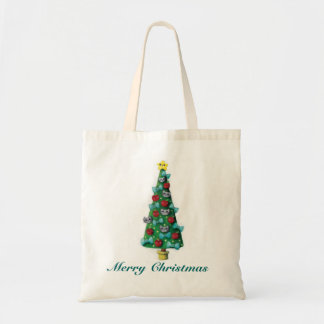Cute Cats on Christmas Tree Tote Bag