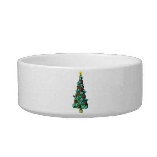 Cute Cats on Christmas Tree Cat Food Bowls