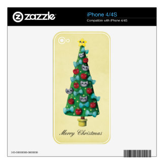 Cute Cats on Christmas Tree Decal For The iPhone 4
