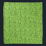 """Cute cats pattern bandana<br><div class=""""desc"""">This product has a cute cats pattern design in black color. The background color is totally customizable. You can personalize it according to your likeness using the &#39;customize it&#39; button. It will look great on any light background color. Its a great fun and unique design for anyone who likes cats....</div>"""