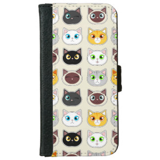 Cute Cats Pattern iPhone 6/6s Wallet Case