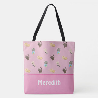 Cute Cats Pattern | Pink | Personalized Tote Bag