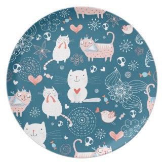 Cute cats pattern plate