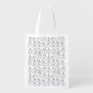Cute cats pattern reusable grocery bags