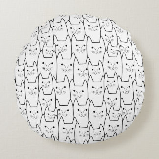 Cute cats pattern round pillow