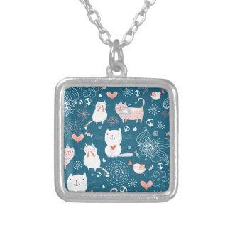 Cute cats pattern silver plated necklace