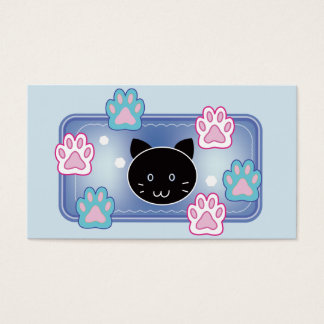 Cute cats' paw pads (blue) business card
