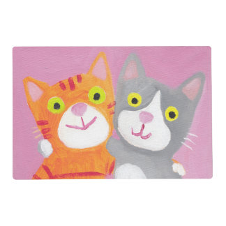 cute cats placemat best friends