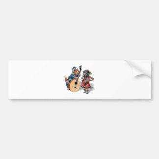 Cute Cats Play Mandolin and Xylophone in the Snow Bumper Sticker