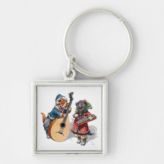 Cute Cats Play Mandolin and Xylophone in the Snow Keychain