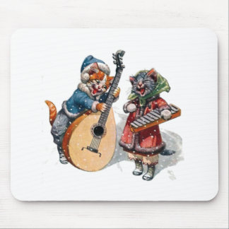 Cute Cats Play Mandolin and Xylophone in the Snow Mouse Pad
