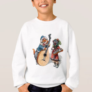 Cute Cats Play Mandolin and Xylophone in the Snow Sweatshirt
