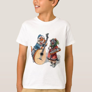 Cute Cats Play Mandolin and Xylophone in the Snow T-Shirt