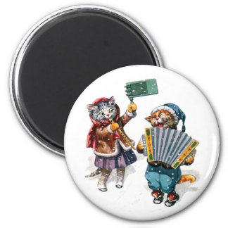 Cute Cats Play the Accordion in the Snow 2 Inch Round Magnet