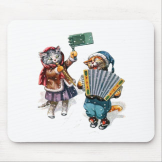 Cute Cats Play the Accordion in the Snow Mouse Pad