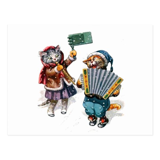 Cute Cats Play the Accordion in the Snow Postcard