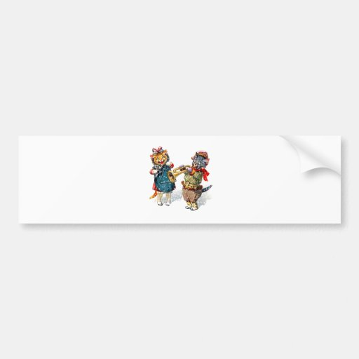 Cute Cats Play the Trumpet & Triangle in the Snow Bumper Sticker