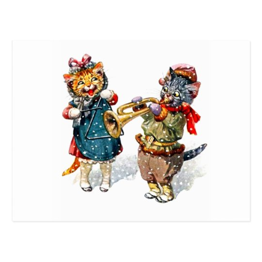 Cute Cats Play the Trumpet & Triangle in the Snow Postcard