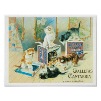 Cute cats playing vintage illustration poster