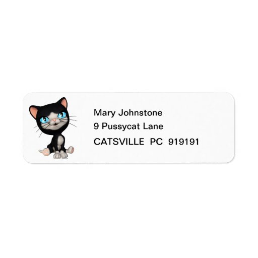 Cute Cats: PussPuss the Cute Cartoon Kitten Custom Return Address Label