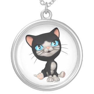 Cute Cats: PussPuss the Cute Cartoon Kitten Round Pendant Necklace