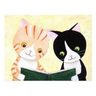 Cute Cats Reading Books Post Card