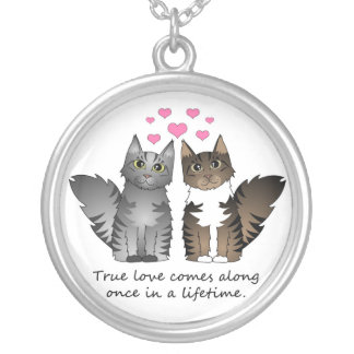 Cute Cats - True Love Round Pendant Necklace