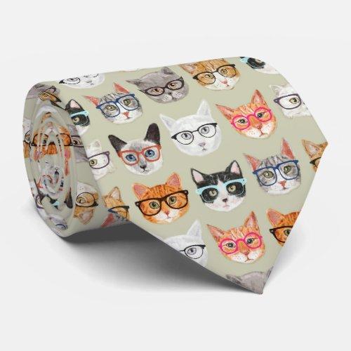Cute Cats Wearing Glasses Pattern Neck Tie