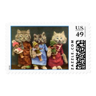 Cute Cats with Dolls Postage Stamps
