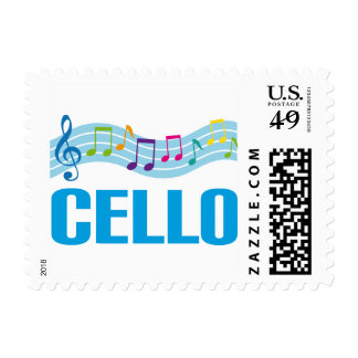 Cute Cello Music Staff blue Stamp