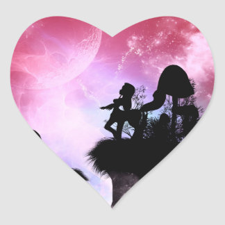 Cute centaurs silhouette heart sticker