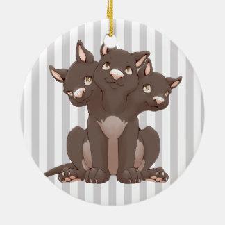 Cute cerberus puppy ceramic ornament