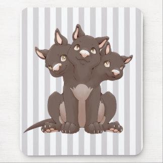 Cute cerberus puppy mouse pad