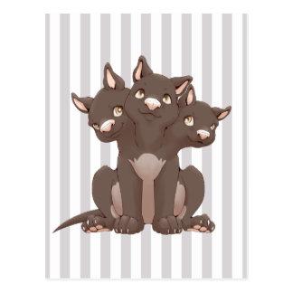 Cute cerberus puppy postcard