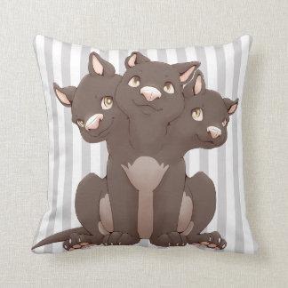 Cute cerberus puppy throw pillow