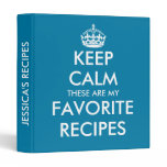 Cute cerulean blue Keep calm recipe binder book