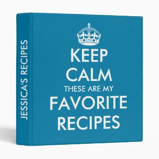 Cute cerulean blue Keep calm recipe binder book