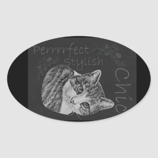 Cute Chalk Cat with Tilted Head Oval Sticker