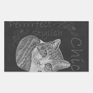 Cute Chalk Cat with Tilted Head Rectangular Sticker