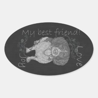 Cute Chalk Drawing of Happy Spaniel Oval Sticker