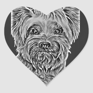 Cute Chalk Drawing of Happy Yorkie Silky Dog Heart Sticker