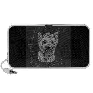 Cute Chalk Drawing of Happy Yorkie Silky Dog Mini Speakers