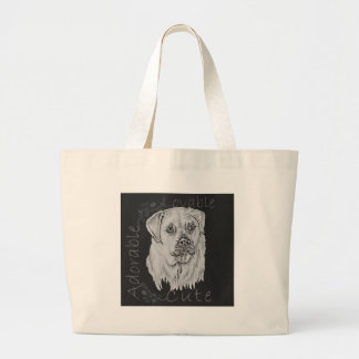 Cute Chalk Drawing of White Labrador Dog Canvas Bags