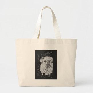 Cute Chalk Drawing of White Labrador Dog Bag