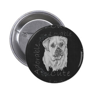Cute Chalk Drawing of White Labrador Dog Button