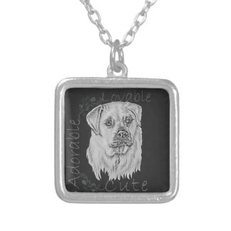 Cute Chalk Drawing of White Labrador Dog Personalized Necklace