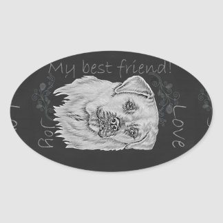 Cute Chalk Drawing of White Labrador Dog Oval Sticker